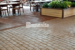 The Bomanite Bomacron Belgium Block imprint pattern was used here, and the installation required precise placement to create an intentionally consistent design while complementing the rustic, natural aesthetic at the Gaylord Rockies Resort & Convention Center.