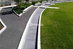 Bomanite Bomacron Chipped Shale imprinted concrete was installed here to create a water feature that stretches the length of Owasso's Redbud Festival Park along with a splash pad that emulates a riverbed of rock, resulting in a unique design that adds beautiful detail to the hardscape.