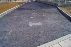 This decorative concrete riverbed and splashpad at Redbud Festival Park were created using a custom Bomanite Chipped Shale imprint pattern, which was perfect to add unique detail and durability to the hardscape.