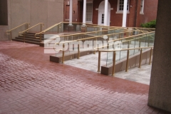 Bomanite Basketweave Brick stamped concrete was installed here utilizing traditional Bomanite Color Hardener to create a hardscape surface that is durable, provides excellent wear and fade resistance, and is the most effective coloring method to achieve the desired results with the installation of Bomanite Imprinted concrete surfaces.