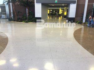 Cafeteria and Common areas have beautiful decorative concrete flooring in Bomanite Custom Polishing Systems using Bomanite Modena Monolithic and Bomanite Renaissance.