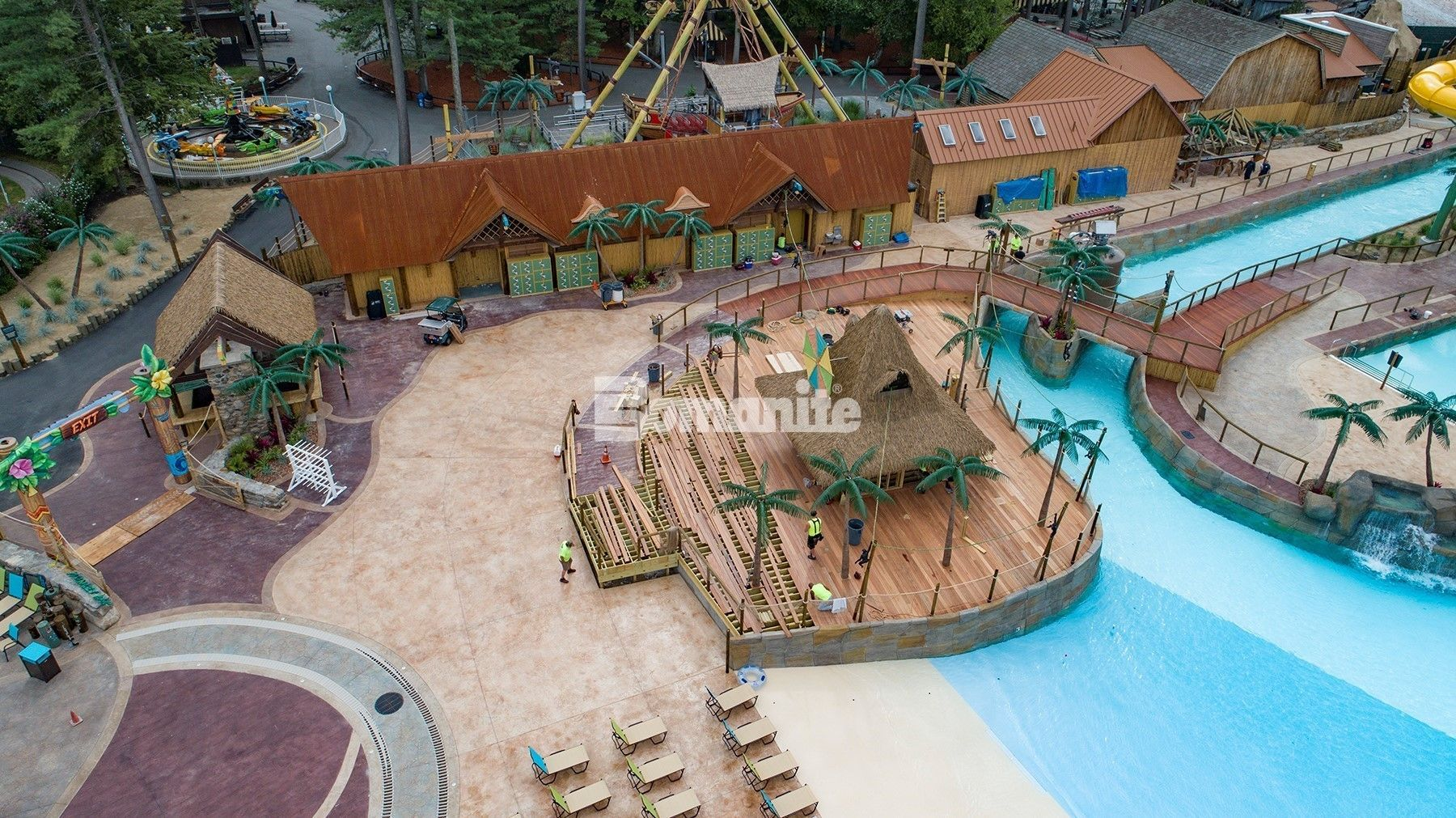 Castaway Island-Canobie Lake Park decorative concrete project by Harrington Bomanite Corp. is a Bomanite Imprint Systems 2018 Gold Award and Bomanite Systems Project 2018 GRAND AWARD winner.