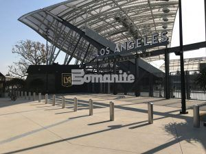 Stadium Gates at Banc of Calif LAFC Stadium featuring Bomanite Sandscape Texture Walkway with Bomanite Alloy Gray Bands decorative concrete.