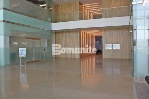 Lobby, using Bomanite VitraFlor Custom Polishing Decorative Concrete flooring, installed by Texas Bomanite at Cypress Waters Office Complex in Coppell, Texas.