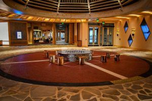 Ceremonial seating area flooring with the Bomanite Revealed and Bomanite Sandscape Exposed Aggregate Systems at the Choctaw Cultural Center in Durant, OK, installed by Bomanite of Tulsa.